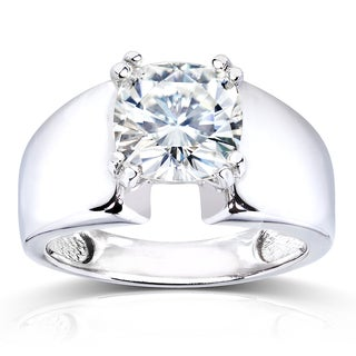 Annello 14k White Gold Forever One 2ct Cushion Moissanite Wide Solitaire Engagement Ring