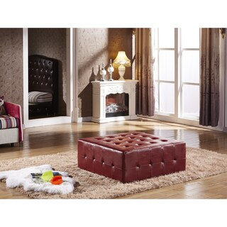 Modern Premium Selcted Shiny Faux Leather Tufted Cocktail Ottoman Bench