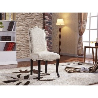 Gorgeous Flare Damask Pattern Parson Dining Chairs with nailhead trim (Set of 2)