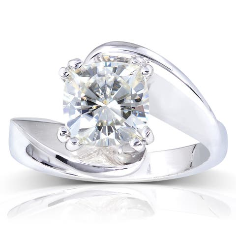 Annello by Kobelli 14k White Gold 2ct Cushion Forever One Moissanite Wide Bypass Style Solitaire Unique Engagement Ring