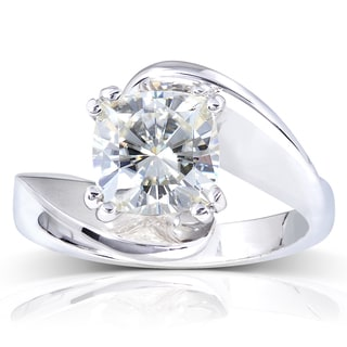 Annello by Kobelli 14k White Gold 2ct Cushion Forever One DEF Moissanite Wide Bypass Style Solitaire Unique Engagement Ring