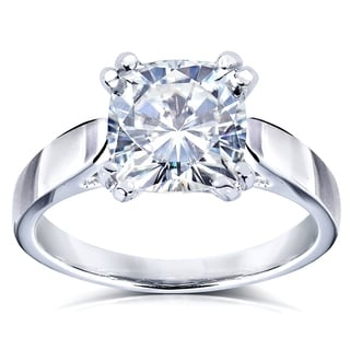 Annello 14k White Gold Forever One 2ct Cushion Moissanite Solitaire Cathedral Ring