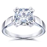 Annello by Kobelli 14k White Gold 2 Carat Cushion Moissanite Solitaire 4-Prong Peg Head Engagement Ring (DEF, VS)