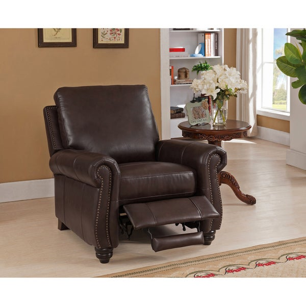 Fulton Brown Premium Top Grain Leather Recliner Chair  sc 1 st  Overstock.com : recliner overstock - islam-shia.org