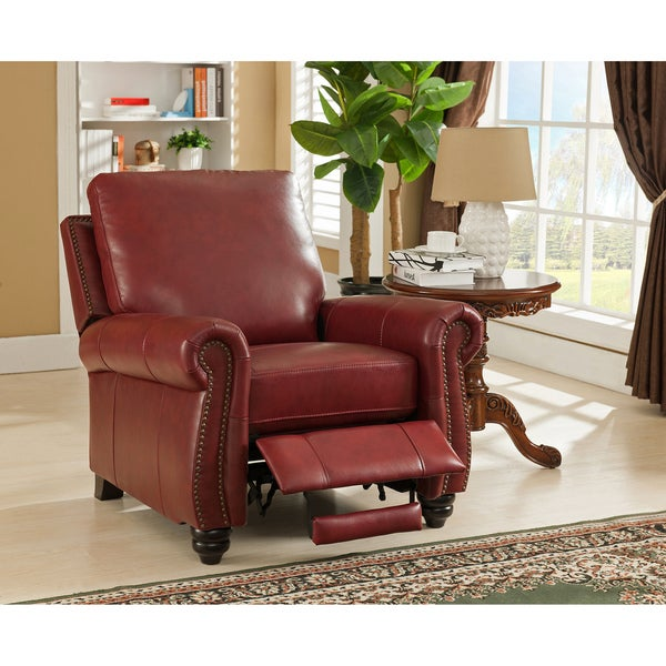 Lenox Red Premium Top Grain Leather Recliner Chair