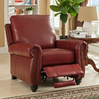 leather living room chairs. Lenox Red Premium Top Grain Leather Recliner Chair Living Room Chairs For Less  Overstock com