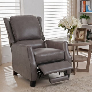 Staten Grey Premium Top Grain Leather Recliner Chair  sc 1 st  Overstock.com : compact recliner chair - islam-shia.org