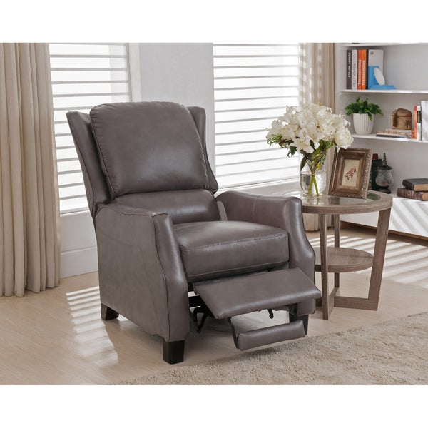 Shop Bryce White Italian Leather Sofa And Two Chairs: Shop Staten Grey Premium Top Grain Leather Recliner Chair
