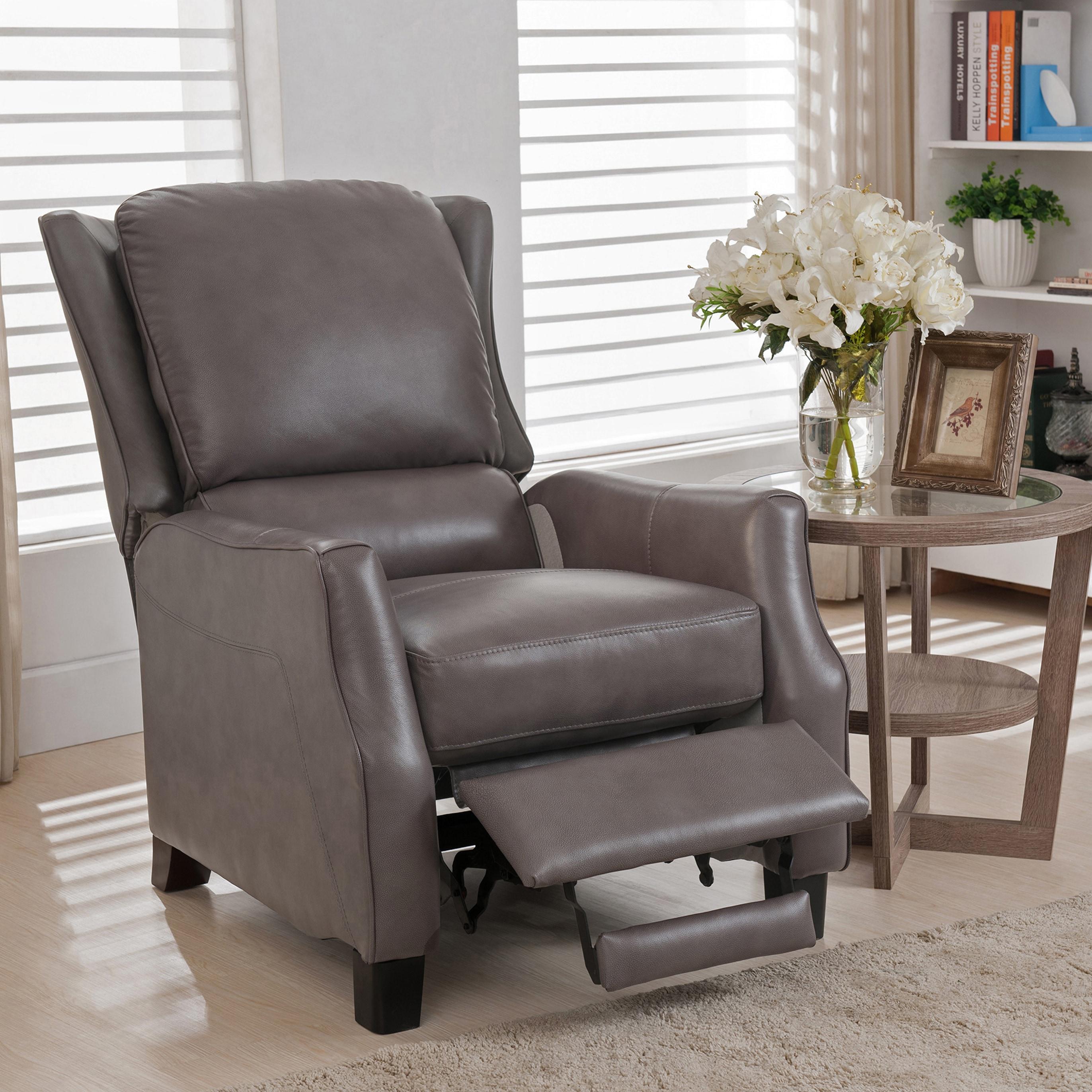 Staten Grey Premium Top Grain Leather Recliner Chair