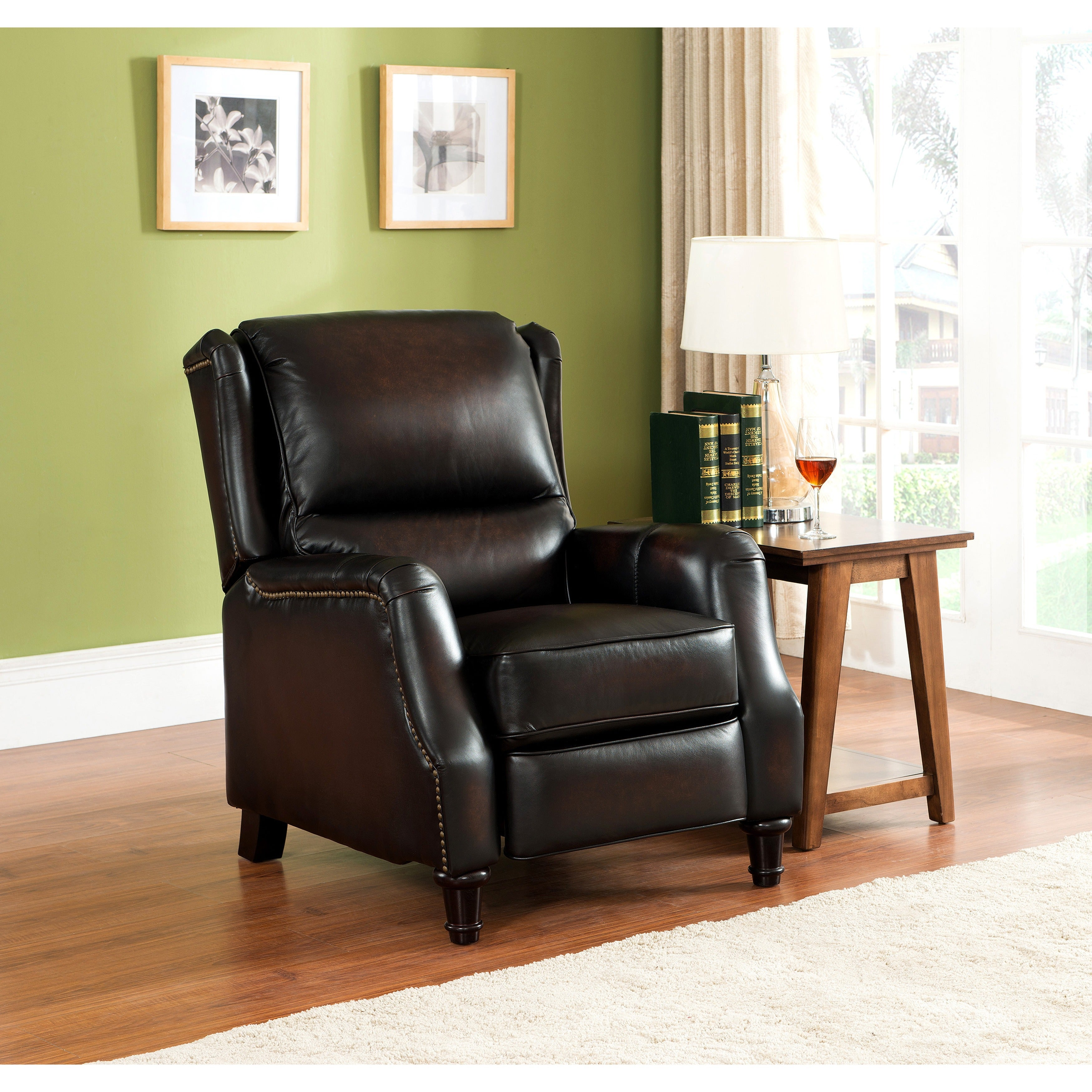 Pleasant Liberty Wingback Brown Red Hand Rubbed Premium Top Grain Leather Recliner Chair Bralicious Painted Fabric Chair Ideas Braliciousco