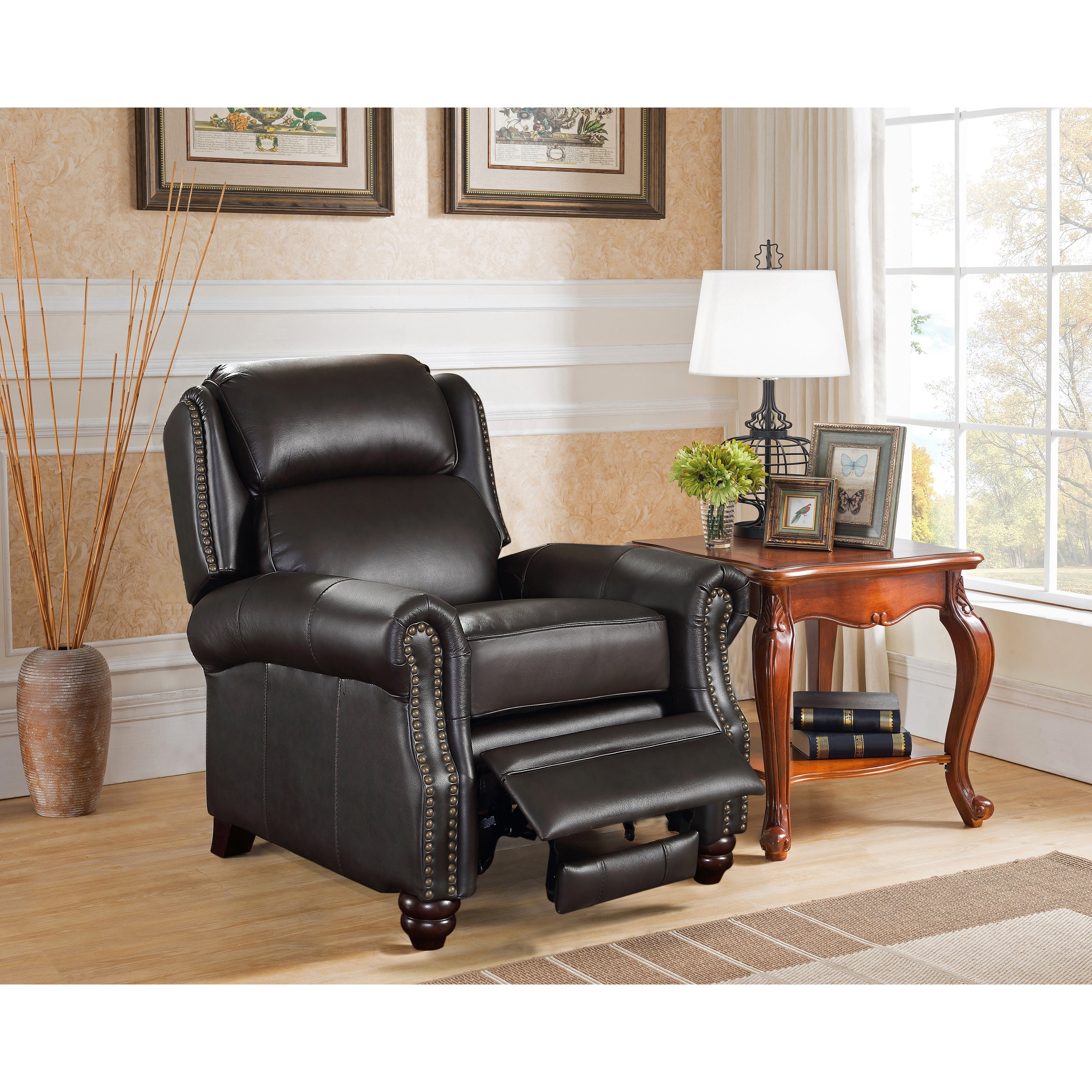 Madison Brown Premium Top Grain Leather Recliner Chair (Brown - Transitional - Rolled Arms)