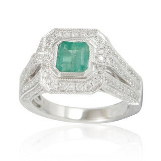 Suzy Levian 14K White Colombian Emerald 1.13ct TDW Diamond Ring (SI1-SI2, H-I)