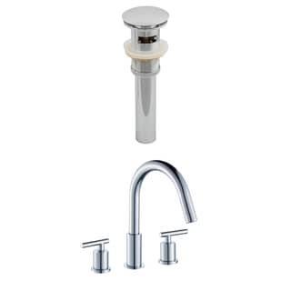 8-in. o.c. CUPC Approved Brass Faucet Set In Chrome Color With Drain