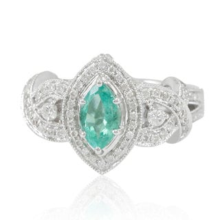 Suzy Levian 14K White Colombian Emerald .67ct TDW Diamond Ring (SI1-SI2, H-I)