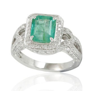 Suzy Levian 14K White Colombian Emerald 1.01ct TDW Diamond Ring (SI1-SI2, H-I)