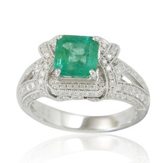 Suzy Levian 14K White Colombian Emerald 1.02ct TDW Diamond Ring (SI1-SI2, H-I)