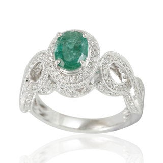 Suzy Levian 14K White Colombian Emerald .84ct TDW Diamond Ring (SI1-SI2, H-I)