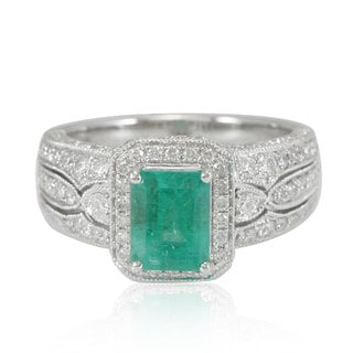 Suzy Levian 14K White Colombian Emerald 1.11ct TDW Diamond Ring (SI1-SI2, H-I)