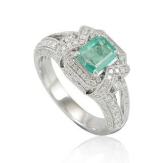 Suzy Levian 14K White Colombian Emerald .93ct TDW Diamond Ring (SI1-SI2, H-I)