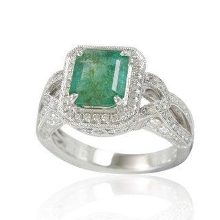 Suzy Levian 14K White Colombian Emerald 1.00ct TDW Diamond Ring (SI1-SI2, H-I)