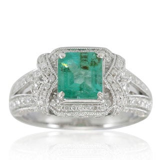 Suzy Levian 14K White Colombian Emerald 1.05ct TDW Diamond Ring (SI1-SI2, H-I)