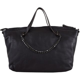 Halston Solid Leather Chain Handle Satchel In Gravel Leather (As Is Item)