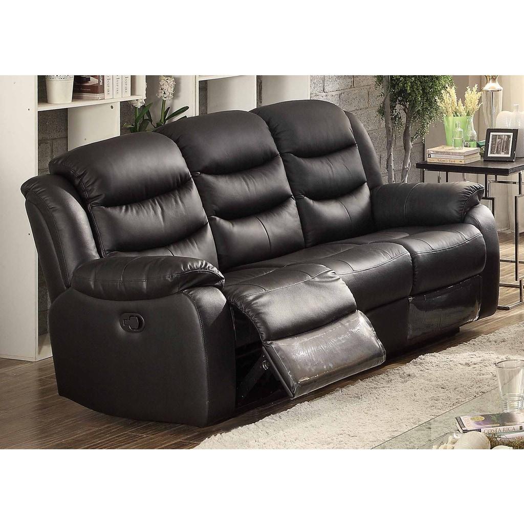 Bennett Black Leather Reclining Sofa (AC Pacific) (Foam)