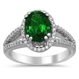 18k White Gold 1/3ct TDW Diamond and 2ct TGW Natural Green Tourmaline Ring
