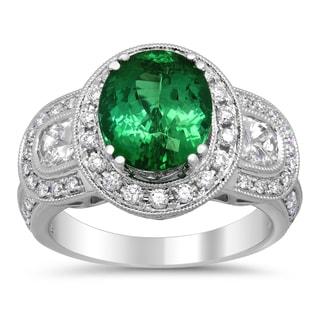 18k White Gold 4ct TGW Natural Green Tourmaline and 1 1/10ct TDW Diamond Ring (F-G, VS1-VS2)