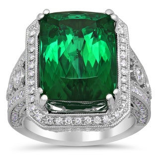 18k White Gold 13 1/2ct TGW Natural Green Tourmaline and 2 1/10ct TDW Diamond Ring ( F-G, VS1-VS2)