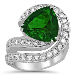 14k White Gold 1 1/2ct TDW Diamond and 5 3/4ct TGW Natural Green Tourmaline Ring