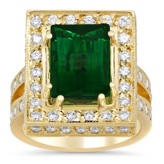 14k Yellow Gold 1 1/3ct TDW Diamond and 4ct TGW Natural Green Tourmaline Ring