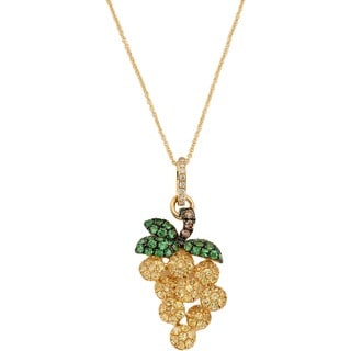 Kabella 18k Yellow Gold Precious Gemstone Grapes Pendant