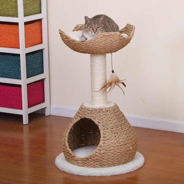 PetPals Walk Up Paper Rope Condo And Perch With Sisal Post