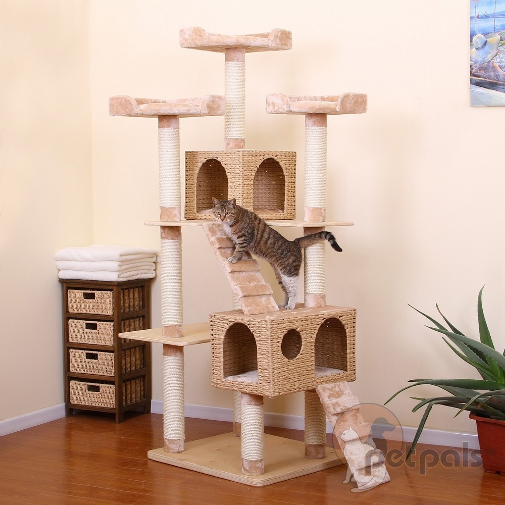 PetPals Towers Multi-level Paper Rope with Fleece and Sis...