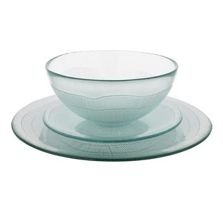 French Home Recycled Glass Ice Clear Dinner Set