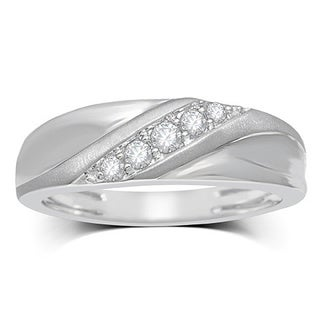 Unending Love Men's 10k White Gold 1/4ctw Diamond ( H-I Color, I2-I3 Clarity ) wedding Band (5 options available)