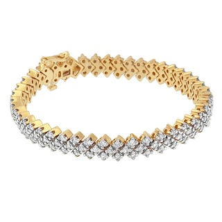 14k Yellow Gold 4ct TDW Round-cut Diamond Bracelet