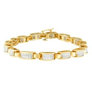 14k Yellow Gold 2 1/2ct TDW Princess-cut Diamond Bracelet (I-J, SI2-I1)