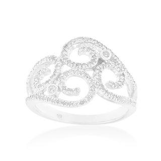 10k White Gold 1/2 CTTW Diamond Swirl Ring