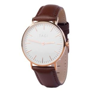 TAGI Men's Classic Brown Leather Watch