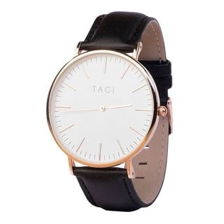 TAGI Men's Classic Black Leather Watch