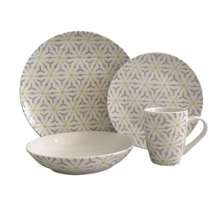 Melange 16 Piece Romance Coupe Porcelain Place Setting Serving for 4 Dinnerware, White