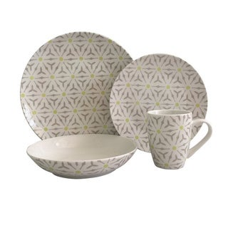 Melange 16 Piece Romance Coupe Porcelain Place Setting Serving for 4 Dinnerware, White