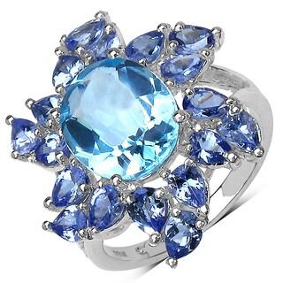 Malaika Sterling Silver 6 1/2ct TGW Genuine Blue Topaz and Tanzanite Ring