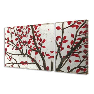 Stupell Crimson Leaves 3-piece Triptych Canvas Art Set