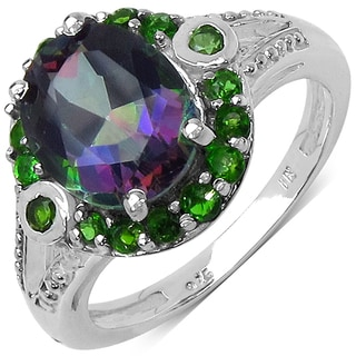 Malaika Sterling Silver 3 7/8ct TGW Genuine Chrome Diopside and Mystic Topaz Ring