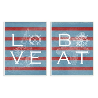 Stupell Love Boat Red Stripes 2-Piece Textual Art Set Wall Plaque