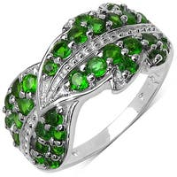 Malaika Sterling Silver 1 1/6ct TGW Genuine Chrome Diopside Ring