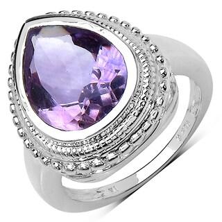 Olivia Leone Sterling Silver 4ct TGW Genuine Amethyst Ring